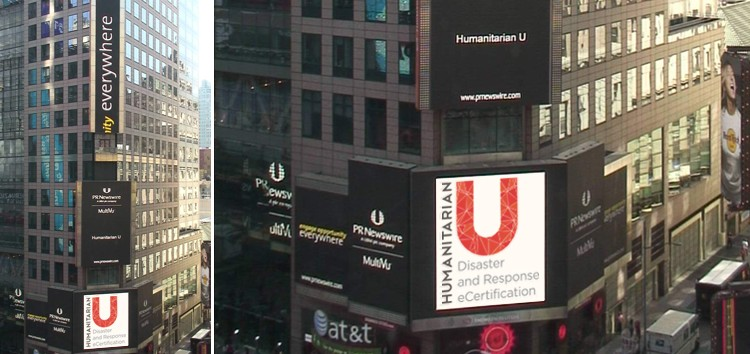 HumanitarianU on Times Square.</br>Launching first online certification program.